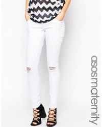 ASOS | Ridley Skinny Jeans In White With Rip And Destroy - White | Lyst