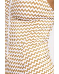 Lonely - Multicolor Jamie Zippered Square Neck One Piece Swimsuit - Gold Zigzag - Lyst