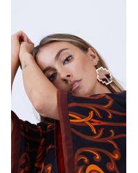 Sandy Hyun - Metallic Geometric Antique Dangle Earrings - Gold/red - Lyst