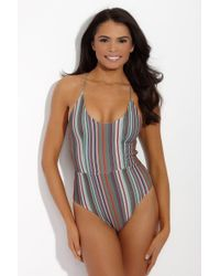 S.I.E SWIM - Multicolor Bella Lace Up Back One Piece - Stripe Print - Lyst