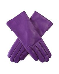 Black.co.uk - Purple Violet Leather Gloves With Cashmere Lining - Lyst