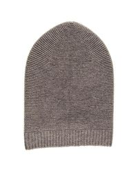 Black.co.uk - Light Brown Purl Stitch Cashmere Slouch Beanie - Lyst