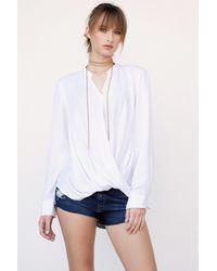 Blank NYC | White Drape Front Shirt | Lyst