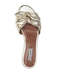Tabitha Simmons - Cleo Knotted Metallic Leather Slide Sandals - Lyst