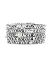 Lagos | Metallic Signature Sterling Silver X Trio Caviar Bracelet | Lyst