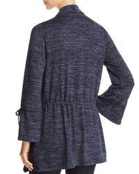 Avec - Blue Marled Knit Drawstring Cardigan - Lyst