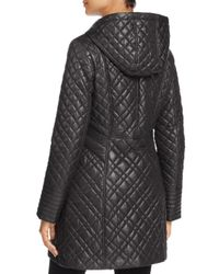 Via Spiga - Black Quilted Coat - Lyst