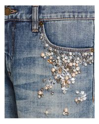 Blank NYC - Blue Crystal & Faux-pearl Embellished Jeans In Soul Mate - Lyst