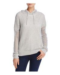Aqua - Gray Honeycomb Hooded Sweater - Lyst