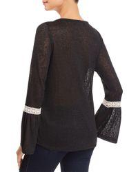 Avec - Black Lace-trimmed Top - Lyst