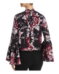 Yumi Kim - Black High Society Bell Sleeve Floral Silk Top - Lyst