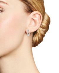 Bloomingdale's - Diamond Two Row Hoop Earrings In 14k White Gold, .50 Ct. T.w. - Lyst