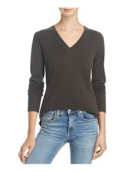 Aqua - Gray Cashmere V-neck Sweater - Lyst
