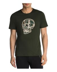 The Kooples - Green Camo Skull Embroidered Tee for Men - Lyst