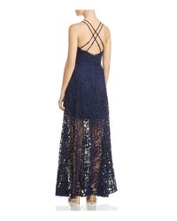 Aqua | Blue Crisscross Lace Maxi Dress | Lyst