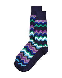 Paul Smith - Blue Fleet Chevron Socks for Men - Lyst