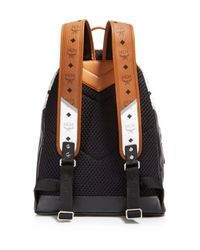 MCM - Black Chevron Visetos Backpack - Lyst