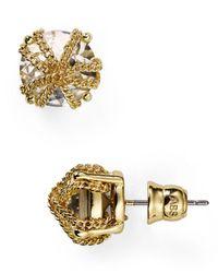 ABS By Allen Schwartz   Metallic Chain Wrapped Stud Earrings   Lyst
