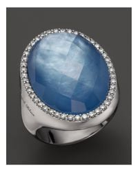 Roberto Coin | 18k White Gold Fantasia Blue Topaz, Lapis And Mother-of-pearl Triplet Cocktail Ring With Diamonds | Lyst