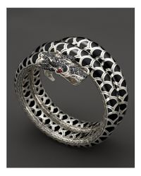 John Hardy - Metallic Naga Sterling Silver And Black Enamel Lava Double Coil Bracelet With Black Sapphire And African Ruby Eyes - Lyst
