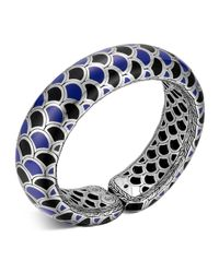 John Hardy | Metallic Naga Sterling Silver Blue And Black Enamel Scale Cuff | Lyst