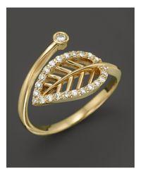 KC Designs | Metallic Diamond Leaf Midi Ring In 14k Yellow Gold | Lyst
