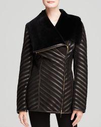Maximilian | Black Maximilian Shearling Lamb Coat With Leather Inserts | Lyst