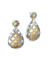 John Hardy | Metallic Sterling Silver & 18k Gold Naga Pear Shape Drop Earrings | Lyst