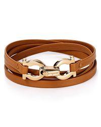 Ferragamo | Brown Quadruple Wrap Double Gancini Bracelet | Lyst