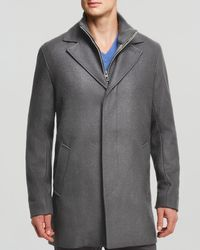 Cole Haan | Black Melton Classic Topper Coat for Men | Lyst