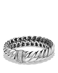 David Yurman - Metallic Hampton Bracelet With Diamonds - Lyst