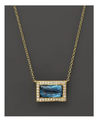 Ippolita | 18k Gold Gelato Medium Baguette Pendant Necklace In London Blue Topaz With Diamonds, 16"