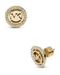 Michael Kors | Metallic Pave Mk Logo Stud Earrings | Lyst