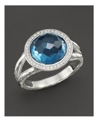 Ippolita   Multicolor Sterling Silver Stella Mini Lollipop Ring In London Blue Topaz With Diamonds   Lyst
