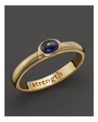 "Monica Rich Kosann | Metallic 18k Yellow Gold ""strength"" Posey Ring With Sapphire | Lyst"