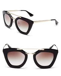 Prada   Black Cat Eye Sunglasses, 49mm   Lyst