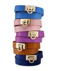 Ferragamo - Brown Gancini Double Wrap Leather Bracelet - Lyst