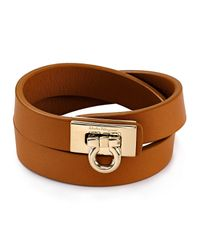 Ferragamo | Brown Gancini Double Wrap Leather Bracelet | Lyst