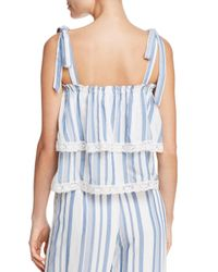 LOST AND WANDER - Blue Lost + Wander Marina Tiered Lace-trimmed Striped Top - Lyst