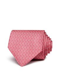 Ferragamo - Pink Abstract Gancini Chain Print Classic Tie for Men - Lyst