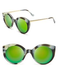 Illesteva - Green Mirrored Palm Beach Sunglasses, 49mm - Lyst