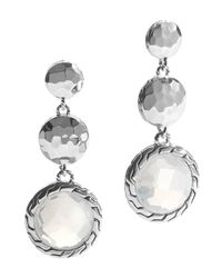 John Hardy | Metallic Sterling Silver Palu Triple Drop Earrings With Moon Quartz | Lyst