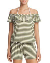 Splendid - Green Stripe Covers Romper Swim Cover-up - Lyst