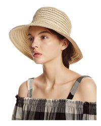 Aqua - Natural Metallic Ribbon Floppy Sun Hat - Lyst