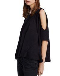 AllSaints - Black Ella Fifi Cold-shoulder Tee - Lyst