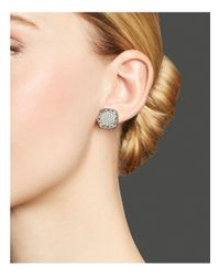 John Hardy - Metallic Classic Chain Stud Square Earrings With Pave Diamonds - Lyst