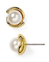 kate spade new york | White Dainty Sparkler Faux Pearl Stud Earrings | Lyst