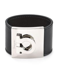 Ferragamo | Black Leather Gancini Bangle | Lyst