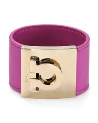 Ferragamo - Pink Leather Gancini Bangle - Lyst