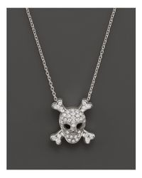 "Roberto Coin - Metallic 18k White Gold Diamond Skull & Crossbones Pendant Necklace, 16"" - Lyst"